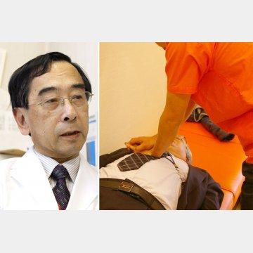東邦大学医療センター佐倉病院の東丸貴信教授(左)、心臓マッサージの様子