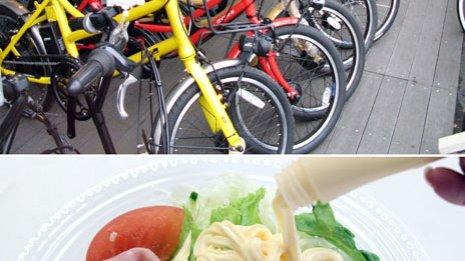 電動アシスト自転車(上)はひざを痛めないのも利点 塩分量が少ない調味料を使う(下)