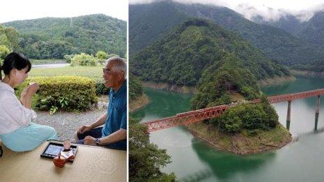 静岡県川根本町。茶畑と大井川を眺めながら川根茶縁喫茶「相藤園」の縁側で。右はダム湖に架かるレインボーブリッジ