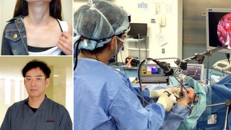 片山昭公センター長(左下) 手術の傷跡はほとんど目立たない(左上)