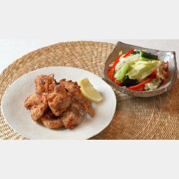 鶏の唐揚げと簡単浅漬け風サラダ