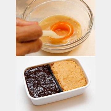 卵黄、麹味噌、酒をよく混ぜておく(上)。味噌は画期的な発酵食品