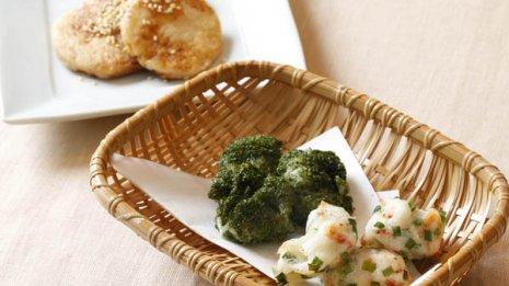 大和芋の揚げ物(前)とバター醤油焼き