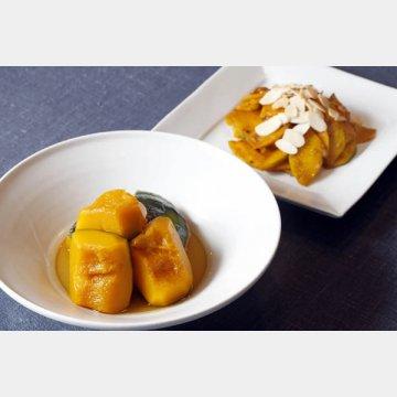 カボチャの含め煮(手前)とピリ辛炒め