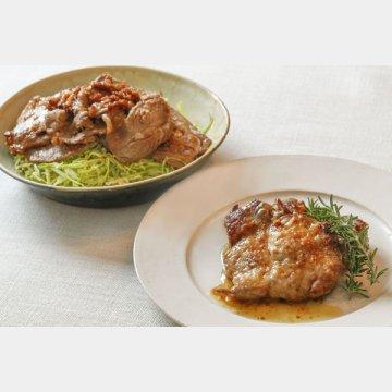 豚肉マリネソテー(手前)と生姜焼き
