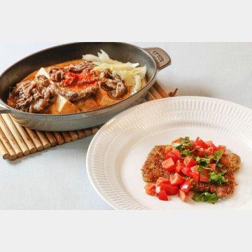 牛肉のミラノ風カツレツ(手前)と肉豆腐