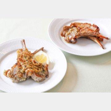 ラムチョップのパン粉焼き(左)と柚子胡椒焼き