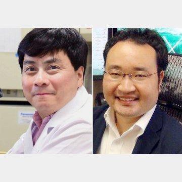 京都大学ウィルス・再生医科学研究所の宮沢孝幸准教授(左)と東海大学医学部の中川草講師
