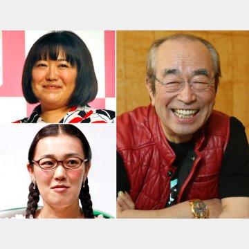 黒沢かずこ(左上)と白鳥久美子(同下)志村けん(右)