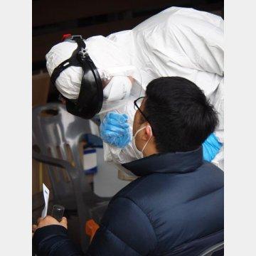 PCR検査(写真は、韓国ソウル新型コロナウイルスの同検査)