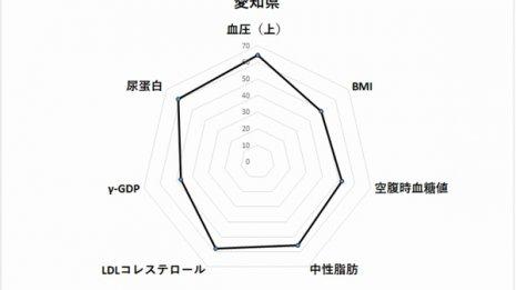 愛知県60代女性のレーダーチャート