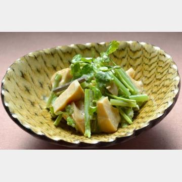 セリ、山菜、タケノコのわさびマヨあえ