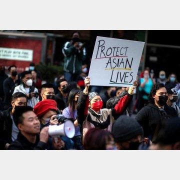ニューヨーク市のタイムズスクエアで開催されたStop Asian Hateラリー